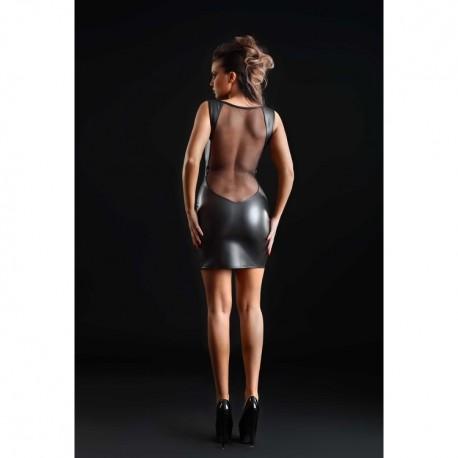 Robe Prune faux cuir & résille